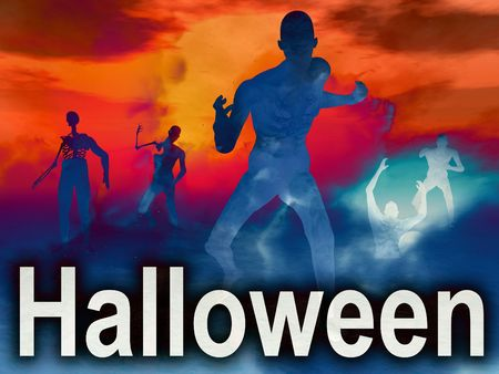 nightime: An image of some zombies with some nightime clouds behind them, with the word Halloween in the foreground.