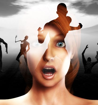 A conceptual image of a women in a state of fear or shock or pain as zombies come for her photo