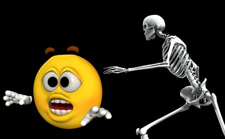 chased: An image of a cartoon head being chased by a scary Skelton.