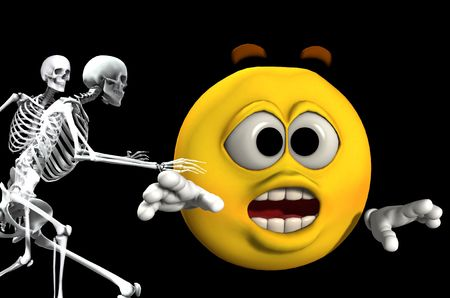 chased: An image of a cartoon head being chased by some scary skeletons. Stock Photo