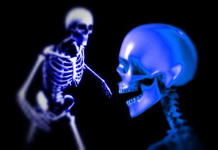 적합: An x ray image two people in which you can see the skull and bones. A suitable medical or  based image. 스톡 콘텐츠
