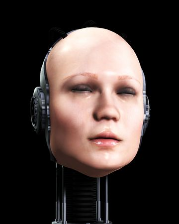 technologically: An image of the head of technologically robotic women.