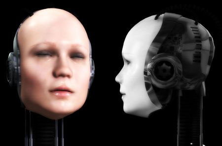 technologically: An image of two heads of technologically robotic women.