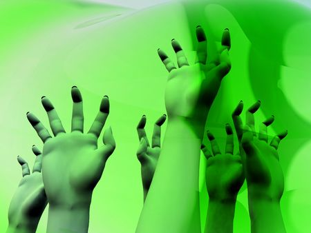 An image for  showing a lot of zombie like hands outreaching Stock Photo - 1829552