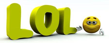 Le signe LOL qui signifie laugh out loud utilisés dans des salons de discussions.