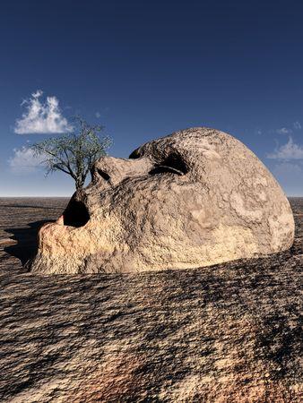 不毛不毛の風景で、地面から出てくる不幸な石の頭の概念図 写真素材