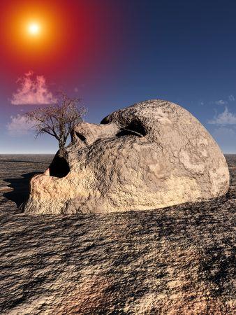 不毛の不毛の風景で地面の出てくる不幸な石の頭の概念図