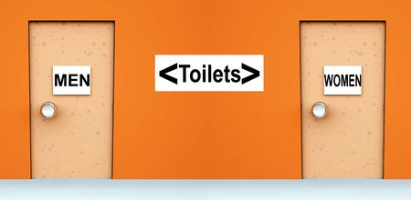An conceptual image of two doors with signs on them indicating toilets. Stock Photo - 1886684
