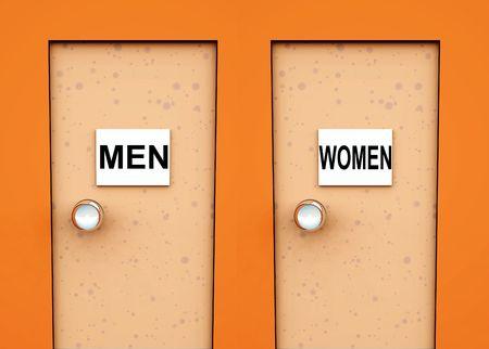 latrina: Concettuale un immagine di due porte con segni su di essi indicando servizi igienici.