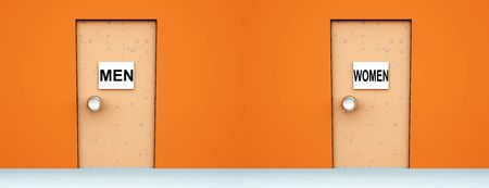 An conceptual image of two doors with signs on them indicating toilets. Stock Photo - 1886685