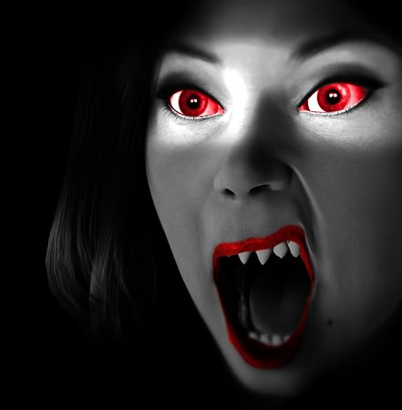 An image of a female vampire that look scary and freighting and are also angry.
