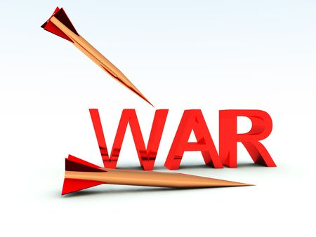hostile: A conceptual image of the word war surrounded by missiles. Stock Photo