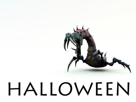 creepy monster: L'immagine di un mostro urlando creepy, un immagine per Halloween.