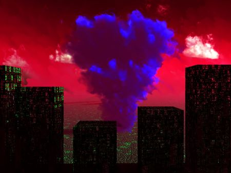 An image of a nuclear blast that has destroyed a city. Stock Photo - 1997935