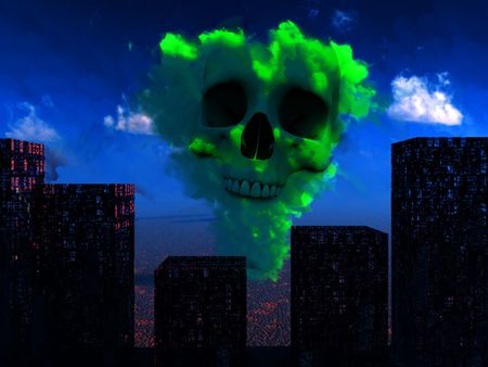 bombed city: An image of a nuclear blast that has destroyed a city. Stock Photo