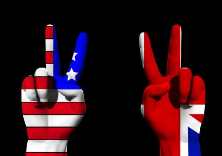 brit: A conceptual image of a pair of hands with UK and USA flags, showing what could be victory,freedom and peace finger gestures.