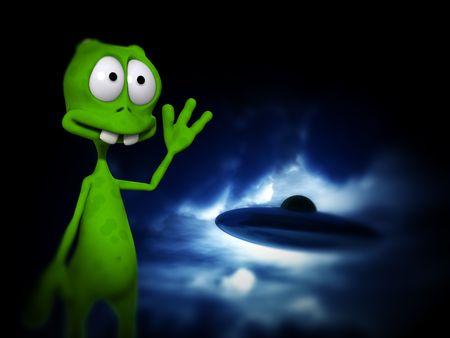 aeronautical: An image of a cartoon alien waving at a UFO.