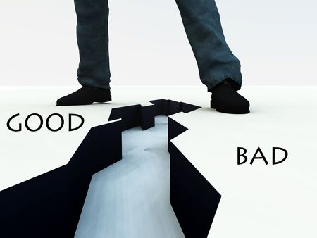 good or bad: An image of a mans legs, with a dangerous deep crack on the ground in-between the feet. A good concept image for the diversion between good and bad. Stock Photo