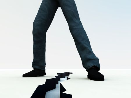 splitting: An image of a mans legs, with a dangerous deep crack on the ground in-between the feet. It would be a suitable concept image for division.