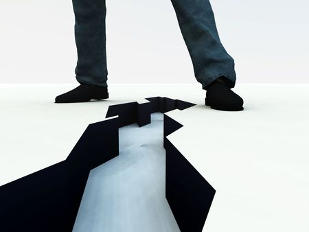 적합: An image of a mans legs, with a dangerous deep crack on the ground in-between the feet. It would be a suitable concept image for division.