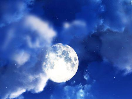 nightime: L'immagine di una luna all'interno di alcune nuvole notturna.