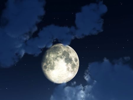 nightime: An image of a moon within some nightime clouds. Stock Photo