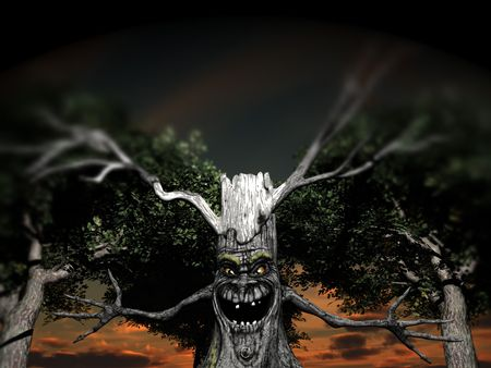 menacing: An image of a smiling but menacing spooky tree, it would make a good Halloween image