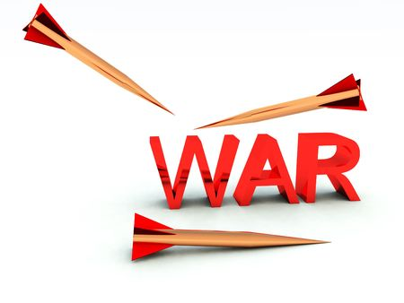 A conceptual image of the word war with a missile about to hit it. Stock Photo - 10836786