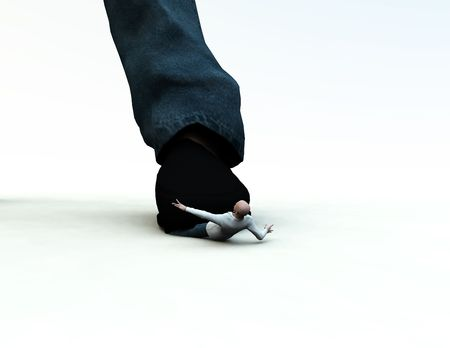 subjugation: A conceptual image of a man being crushed and oppressed by a large foot. Stock Photo