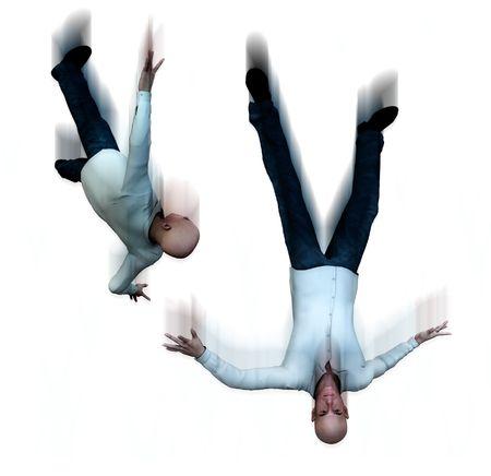suicidal: An conceptual image of some falling suicidal men. Stock Photo