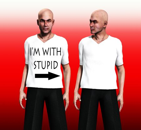 insulting: A conceptual image of two identical men one with a funny and insulting t shirt.