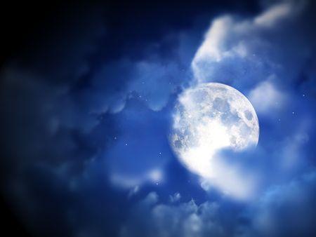 nightime: Una immagine di una notte di luna all'interno di alcune nuvole. Archivio Fotografico