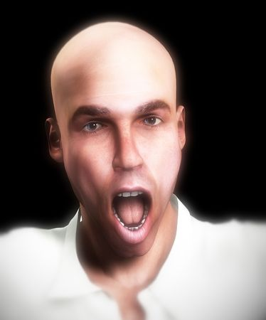 A emotional image of a man who is screaming in terror or pain. Stock Photo - 2052819