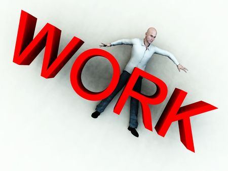 flattened: An image of a person who is literally been flattened by work.