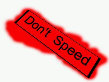 law breaking: A sign warning of the danger of illegally breaking the law by speeding. Stock Photo