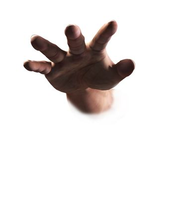 An image of a hand reaching out towards the viewer.
