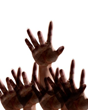 An image of some hands reaching out towards the viewer.