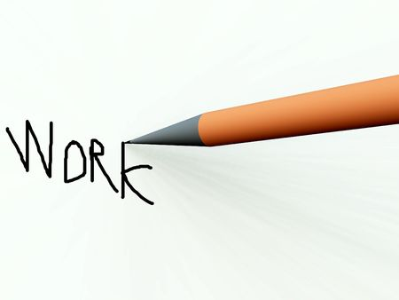 wording: An image of a pencil or pen on some paper. Stock Photo