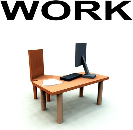 An image of a It officework environment, it contains a desk with a chair and a computer with keyboard and paper. Stock Photo