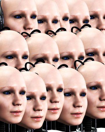 technologically: An image of lots of heads of technologically robotic women who have been duplicated, it would make a interesting background.