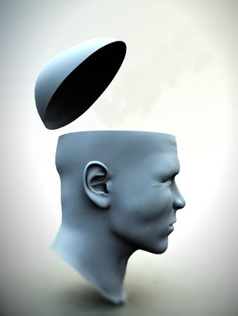 A very abstract and conceptual image of a mans head which is opened up. Stock Photo