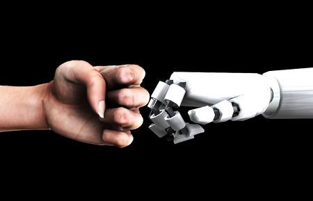 A conceptual image of a human verses robot fist, that could represent the concepts of aggression,battle or power. Stock Photo - 2162824