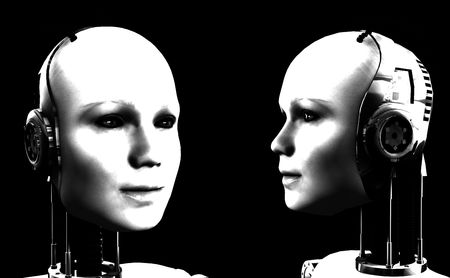 technologically: An image of some heads of technologically robotic women who have been duplicated, or cloned.