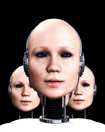 technologically: An image of a few heads of technologically cloned robotic women who have been duplicated, it would make a interesting background.