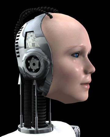 technologically: An image of a technologically robotic women. Stock Photo