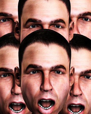 panicking: A conceptual image of a lot of cloned men in a state of fear.