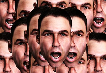 wail: A conceptual image of a lot of cloned men in a state of fear.