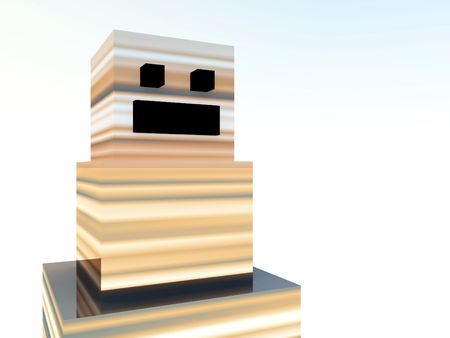 blocky: An image of a very simple square robot. Stock Photo
