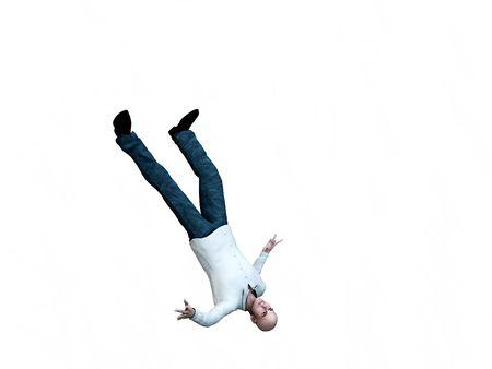 suicidal: An conceptual image of a falling suicidal man.