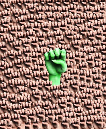 nonconformity: A background pattern full of duplicated fists, whilst a symbolic fist could represent the concepts of individuality, aggression, nonconformity or voting.